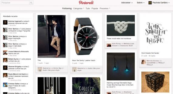Página inicial do Pinterest.