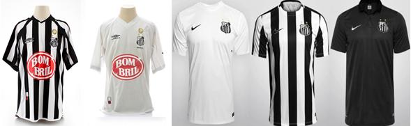 Uniformes do Santos em 2002 e 2015 (créditos: torcedores.uol.com.br)